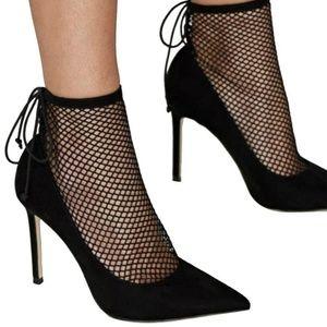 Zara fishnet pump heel
